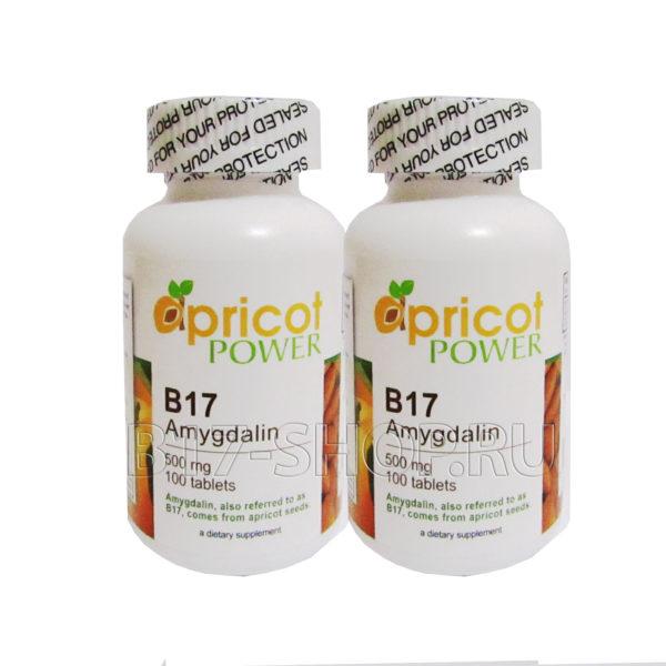 2 упаковки витамина Apricot Power B17 500 мг, 100 табл. (США)